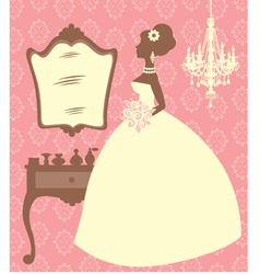Bride in dressing room vector image
