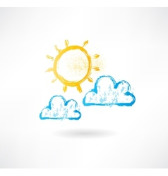 Brush picture sun and clouds vector image