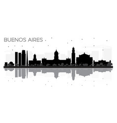 Buenos aires skyline black and white silhouette vector