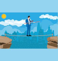 businessman in suit walking on rope vector image