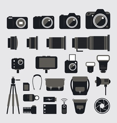 Camera Photography Flat Icons Set vector