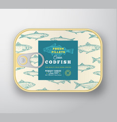canned fish label template abstract fish vector image