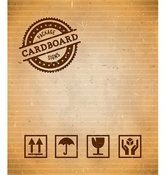 Cardboard with package signs vector image