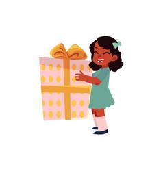 cartoon girl keeping present box in hands vector image