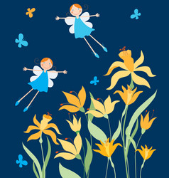 Cheerful elves girls flying over daffodils vector