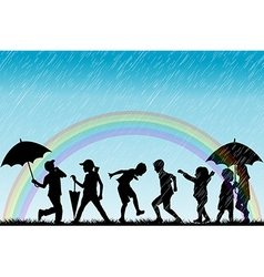 Children silhouettes enjoy the rain vector image