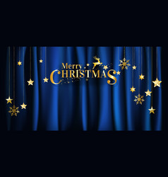 christmas gold on blue fabric background vector image