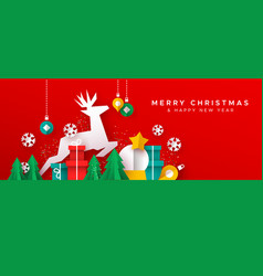 christmas new year card paper cut toy landscape vector image