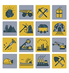 Coal mining icon set Colour version design vector