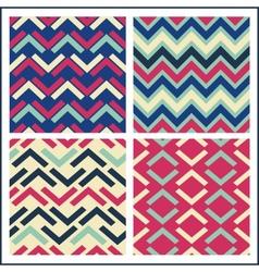 colorful geometric seamless pattern set retro vector image