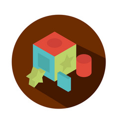 cube with geometric figures toy object for small vector image