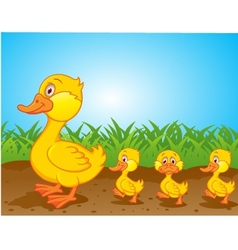 Cute family duck cartoon vector