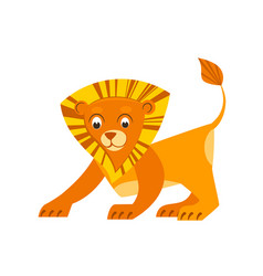 cute little lion in flat style african animal vector image