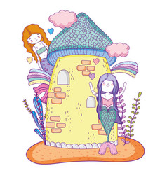 Cute mermaid woman and castle with clouds vector