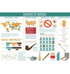 Dangers of smoking infographics elements vector image