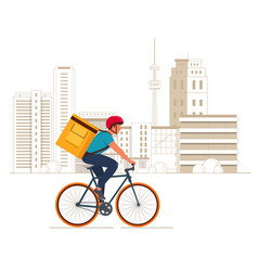 Delivery boy on bicycle with yellow backpack vector