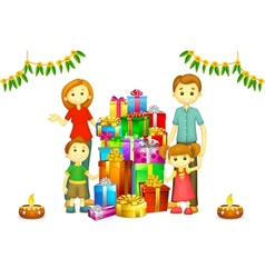 Family with diwali gift vector