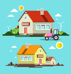 flat design house houses and tractor on village vector image