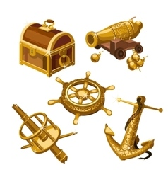 Fragments of the ship cannon and treasure chest vector