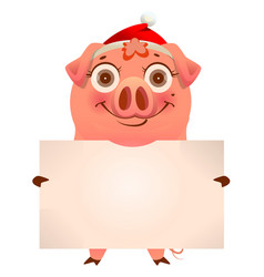 funny pig in santa hat holding empty blank banner vector image