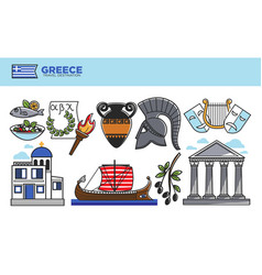 Greece travel destination promotional poster with vector