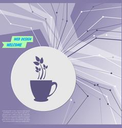 Green tea icon on purple abstract modern vector