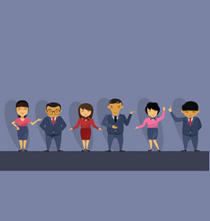 Group of asian business people wearing suits vector