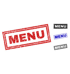 Grunge menu textured rectangle stamps vector