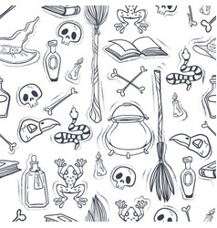 Halloween seanless pattern with witchcrafts vector