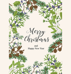 Hand drawn christmas card with winter plants vector