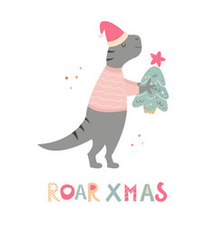 Hand drawn holiday t-rex with christmas gift vector