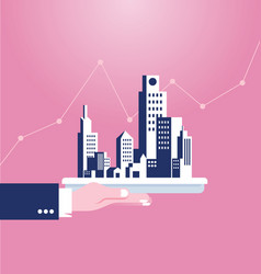 hand holding building real estate concept vector image