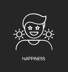 Happiness chalk white icon on black background vector