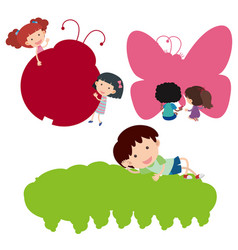 happy children and silhouette insects vector image
