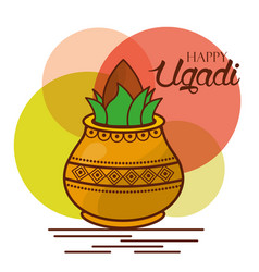 happy ugadi greeting card celebration festival vector image