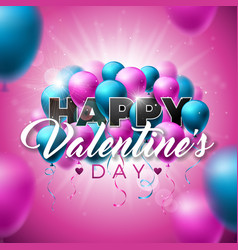 Happy valentines day design with color balloon on vector