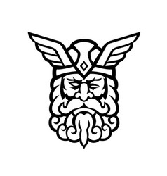 head odin norse god front view mascot black vector image