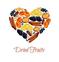 Heart poster of dried fruits snacks vector