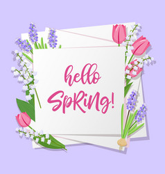 hello spring lettering spring flowers on white vector image