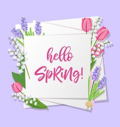 Hello spring lettering spring flowers on white vector