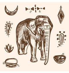 Indian Hand Drawn Hamsa with Elephant Arabi vector
