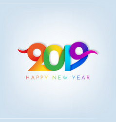 Inscription happy new year 2019 on white vector