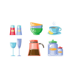 kitchen utensil set kitchenware kitchen vector image