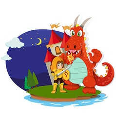 Knight and dragon on the island vector image
