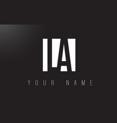 La letter logo with black and white negative vector
