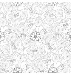 lotus and fishes seamless pattern vector image