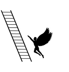 Man flying up career ladder silhouette mythology vector