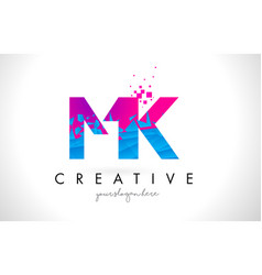 Mk m k letter logo with shattered broken blue vector
