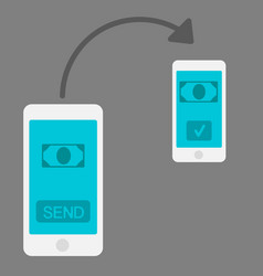 mobile money transfer flat design style vector image