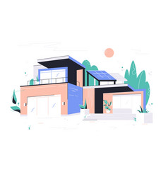 modern big house with garage balcony and roof vector image